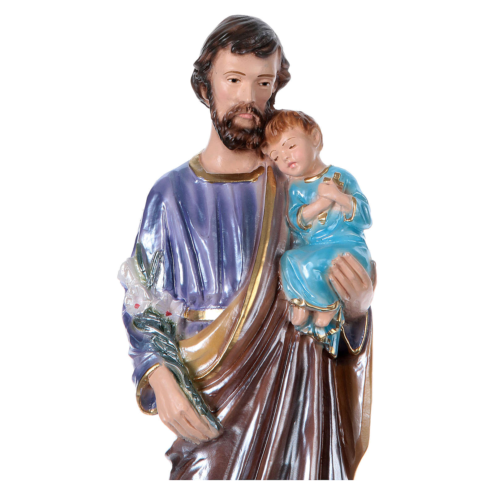 St. Joseph 30 cm Statue, in plater with mother of pearl 4