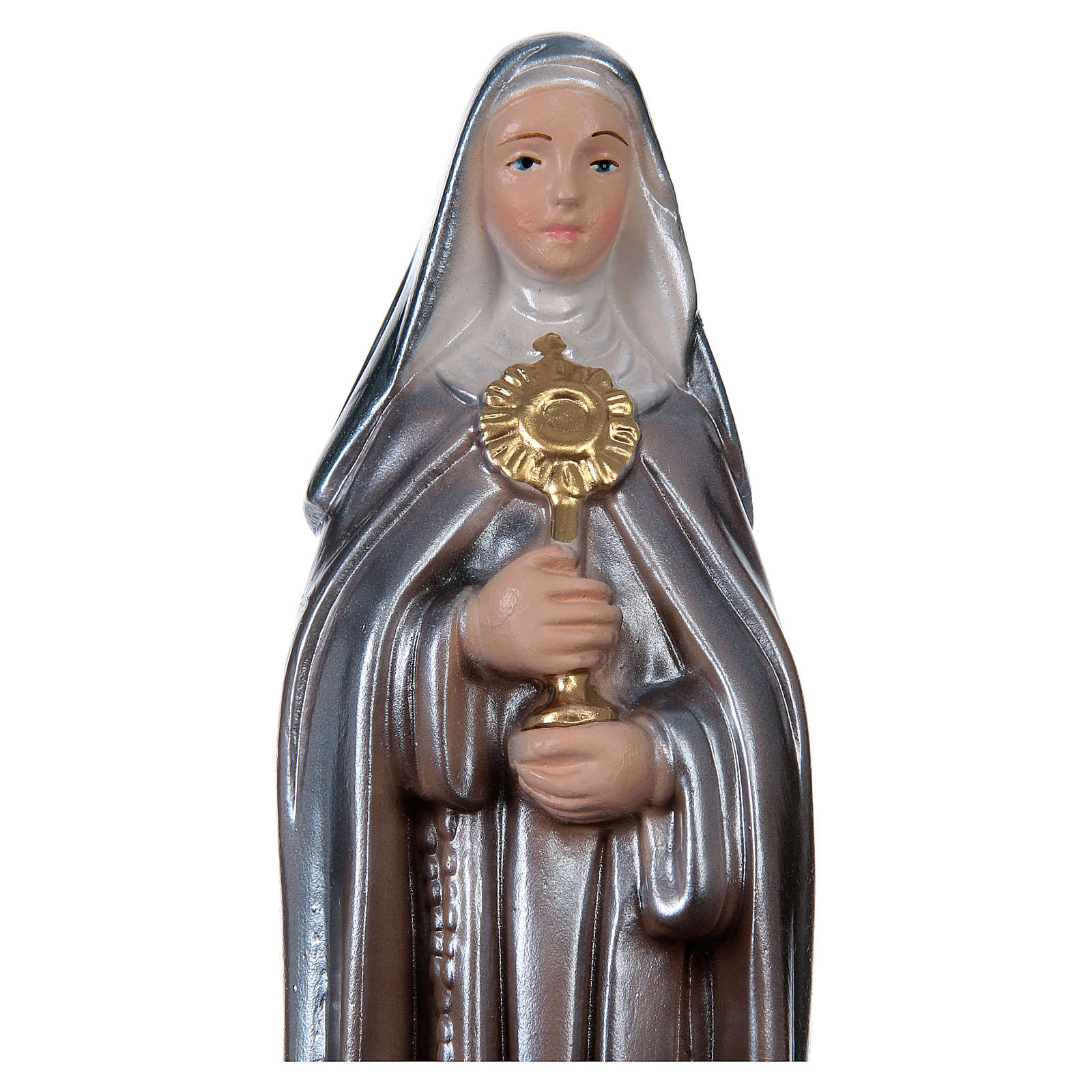 Saint Clare 20 cm Statue, in plaster with mother of pearl 4