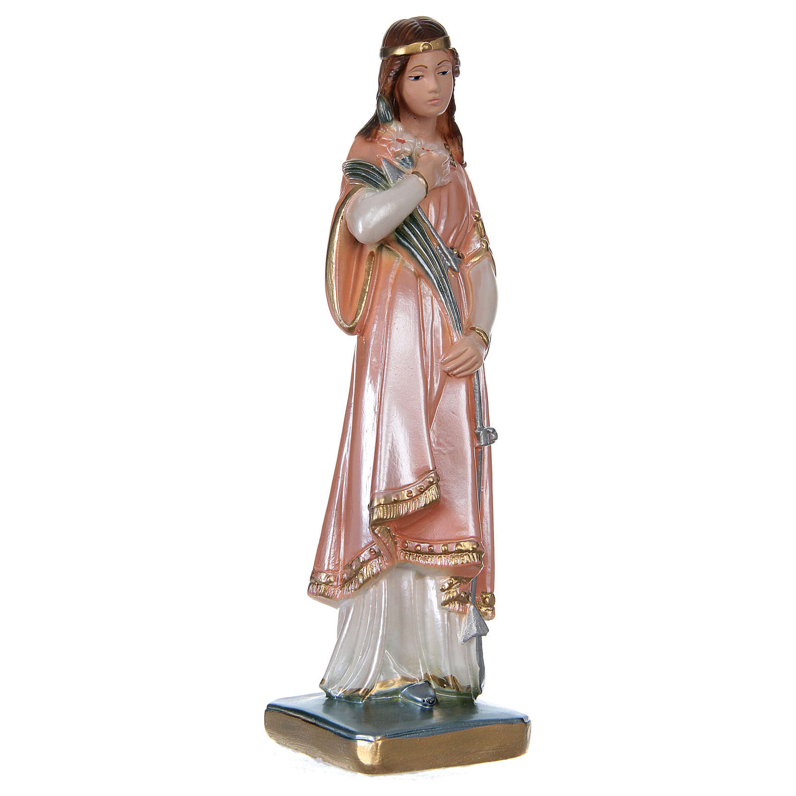 St Philomena 20 cm in mother-of-pearl plaster 4