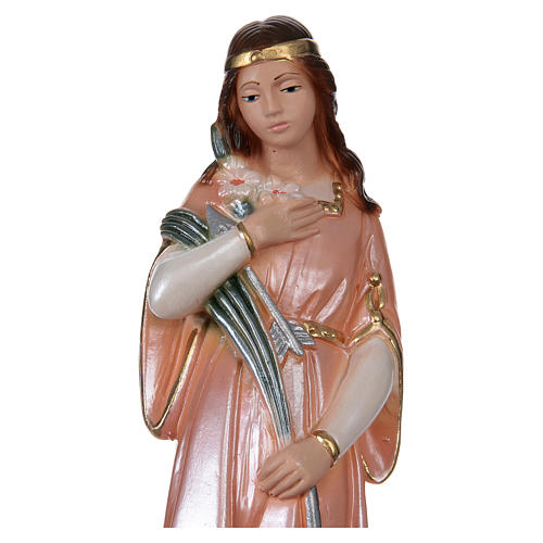 Statue of Saint Philomena, 20 cm in plaster with mother of pearl 2