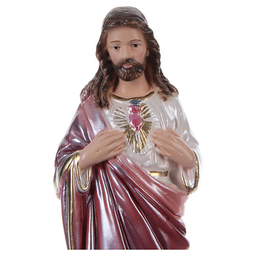 Sacred Heart of Jesus, 20 cm, in plaster with mother of pearl 2