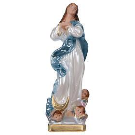 Imagens em Gesso: Imagem em gesso efeito madrepérola Nossa Senhora com anjos 20 cm