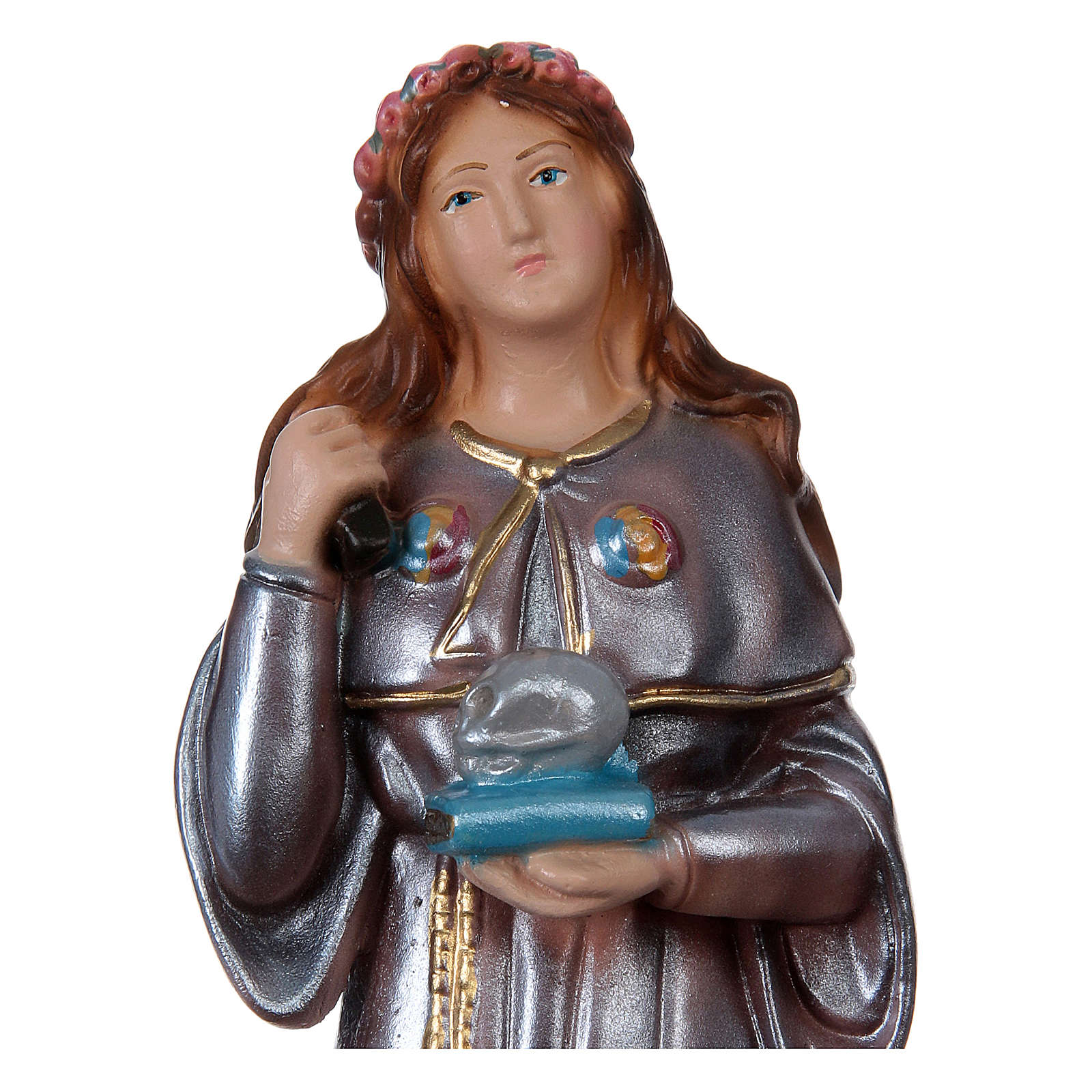 Statue of Saint Rosalia, 20 cm in plaster with mother of pearl 4