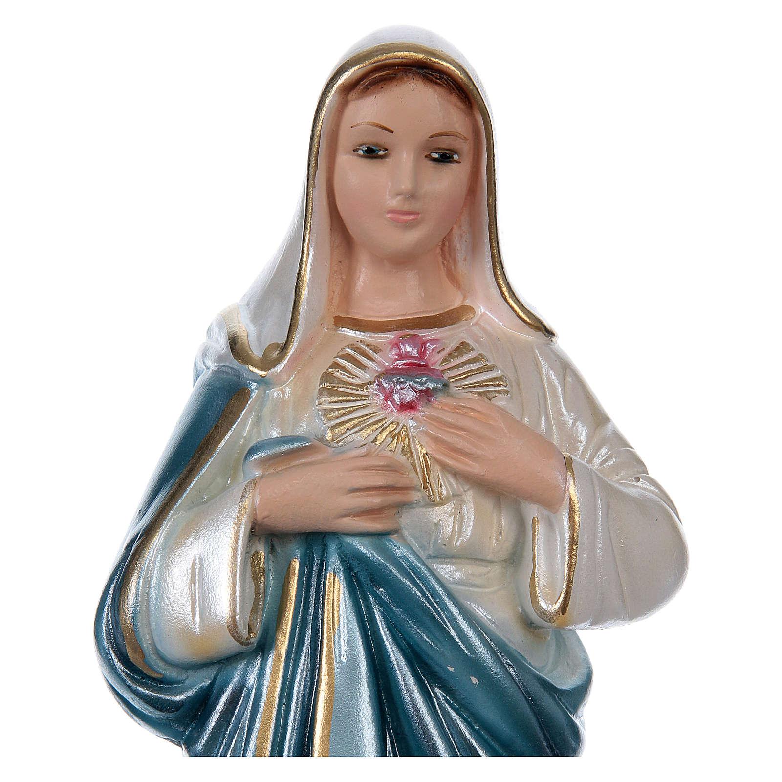 Sacro Cuore di Maria 20 cm gesso madreperlato 4