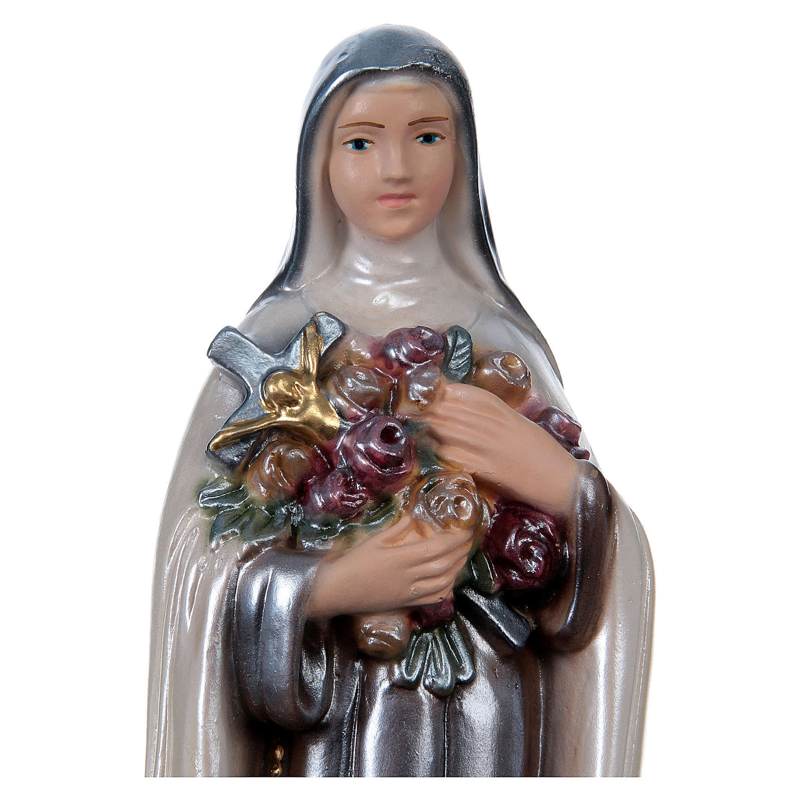 St Theresa 20 cm in mother-of-pearl plaster 4