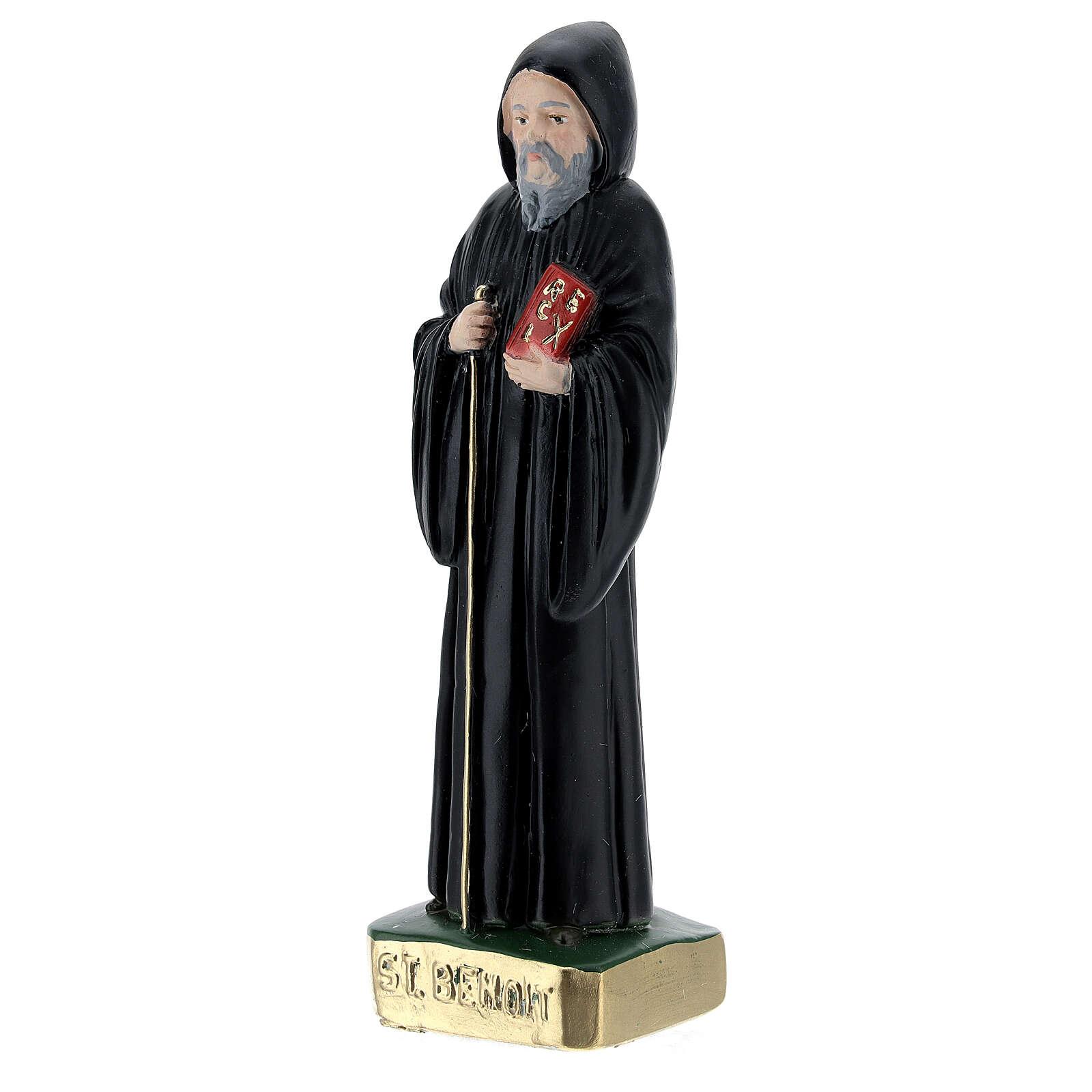 Saint Benoît 15 cm plâtre peint 4