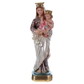Madonna of Mount Carmel Statue, 15 cm in plaster with mother of pearl s1