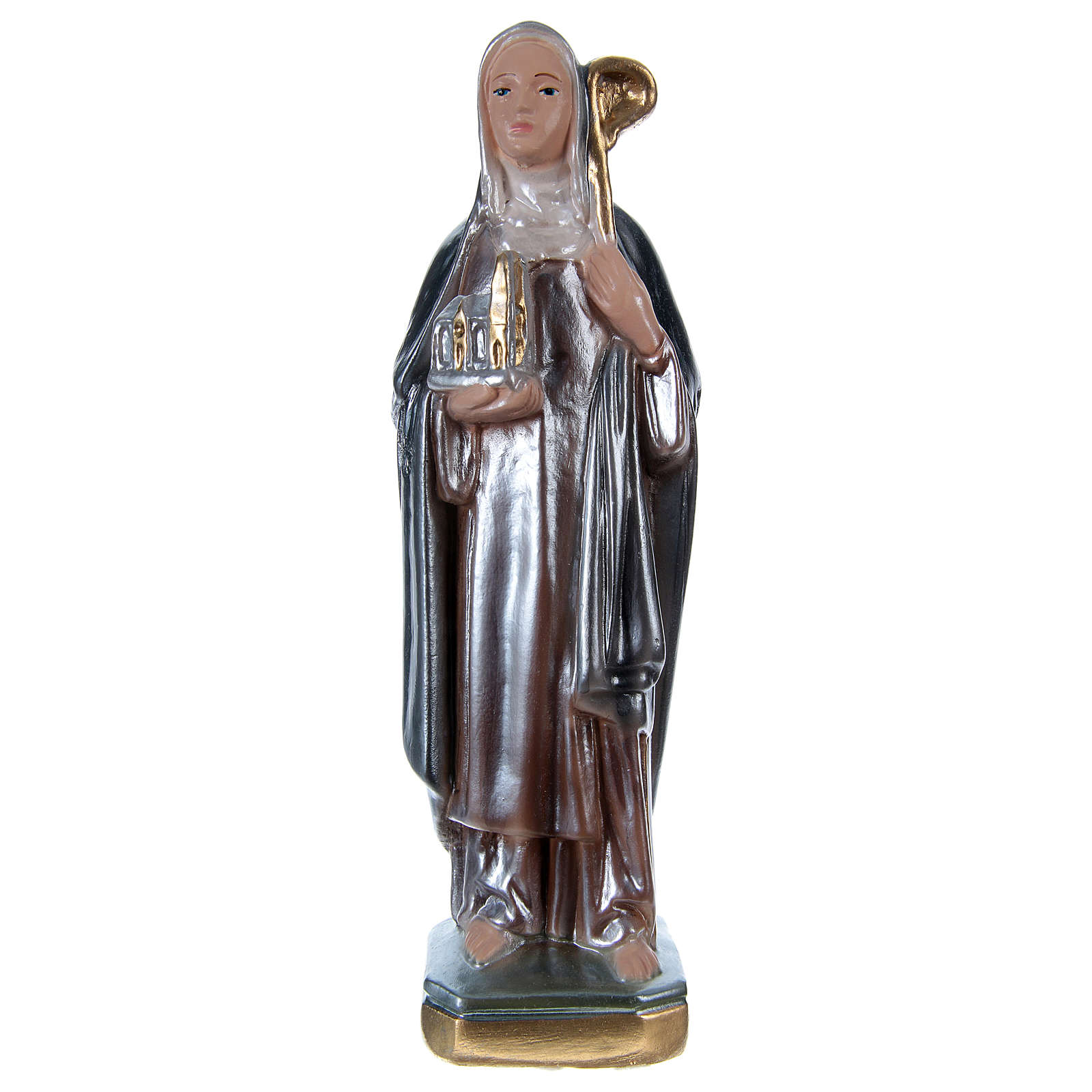 Saint Bridget Statue, 20 cm in plaster with mother of pearl 4