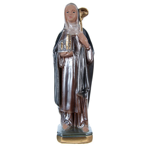 Saint Bridget Statue, 20 cm in plaster with mother of pearl 1