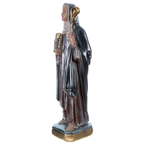 Saint Bridget Statue, 20 cm in plaster with mother of pearl 3