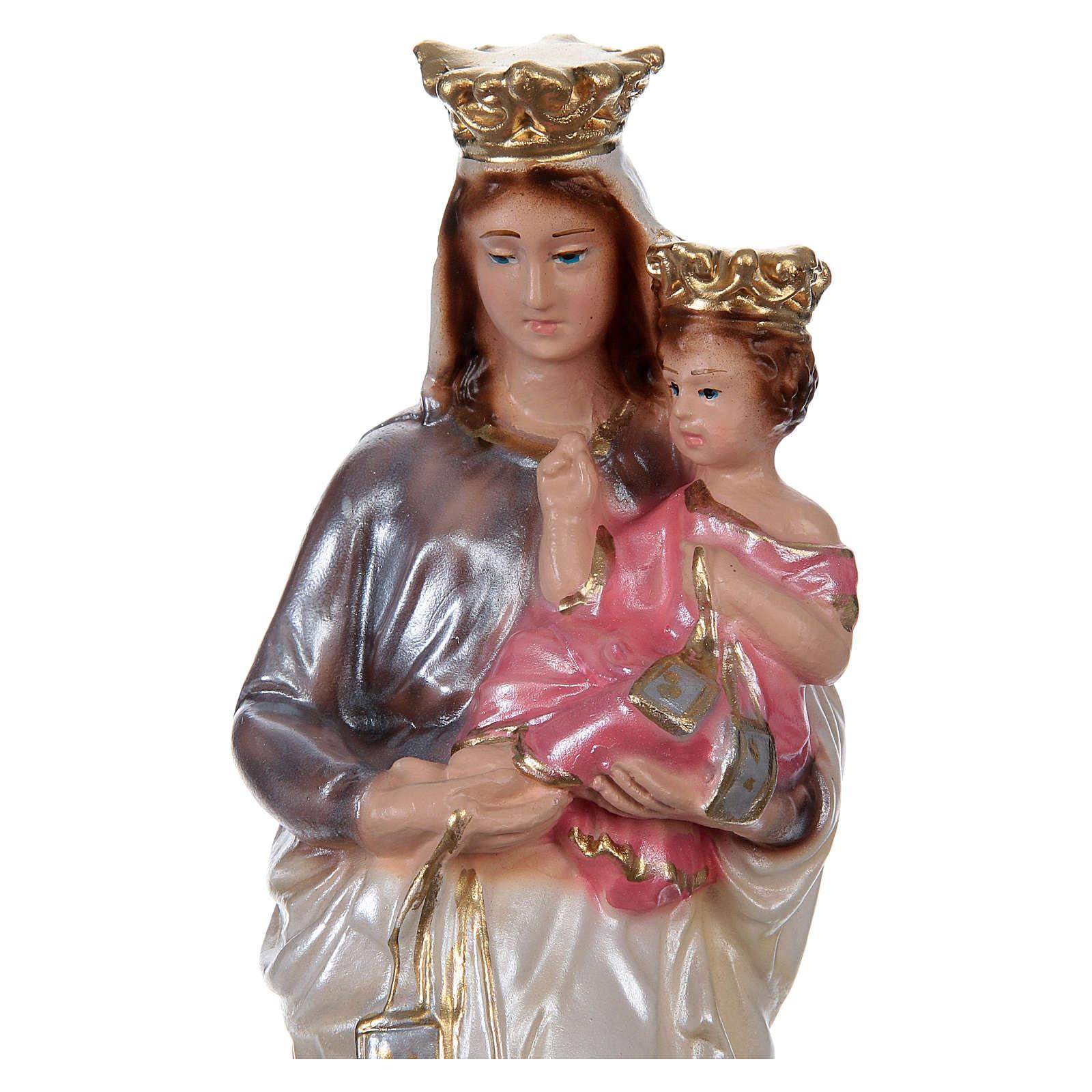 Estatua yeso efecto nacarado Virgen del Carmen 20 cm 4