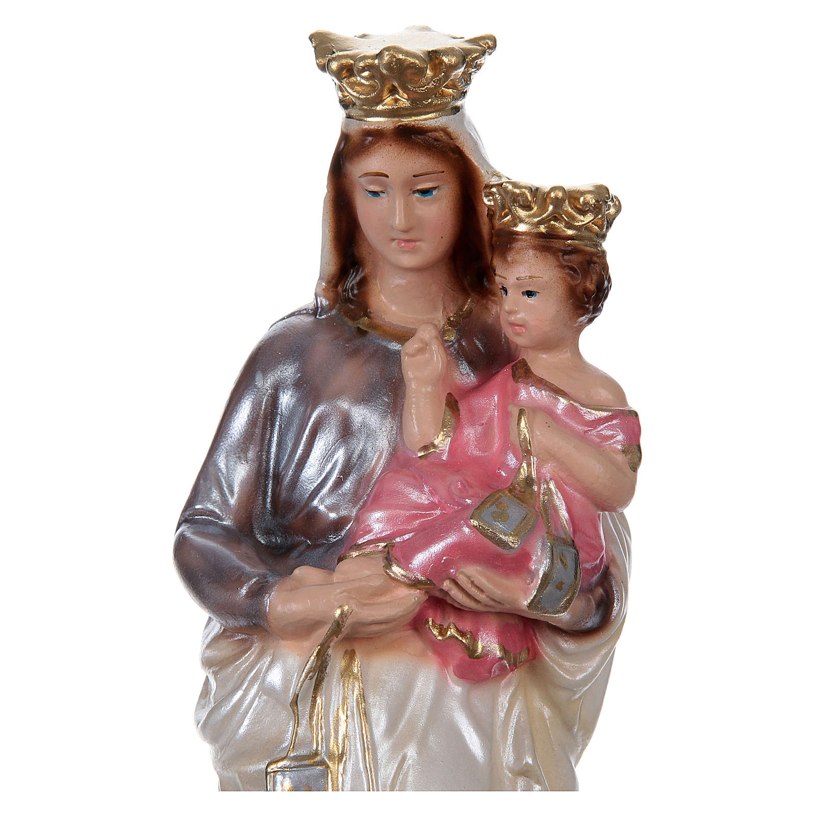 Statue of Our Lady of Mt. Carmel 20 cm, in plaster with mother of pearl effect 4