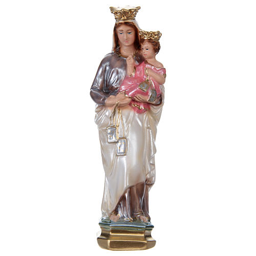 Statue of Our Lady of Mt. Carmel 20 cm, in plaster with mother of pearl effect 1