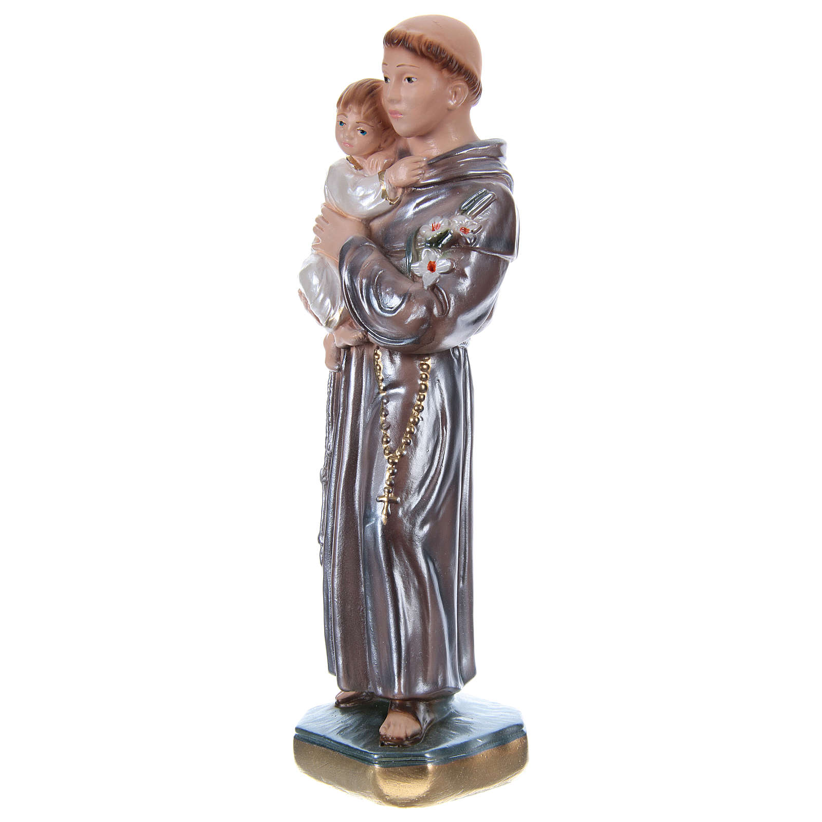 Saint Anthony of Padua with Child, 20 cm in plaster with mother of pearl 4