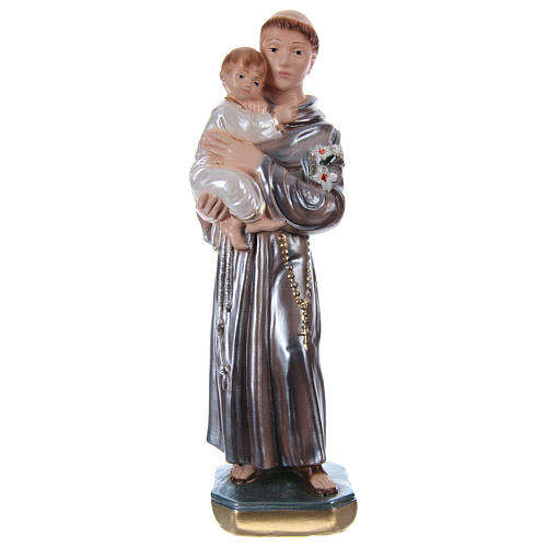 Saint Anthony of Padua with Child, 20 cm in plaster with mother of pearl 1