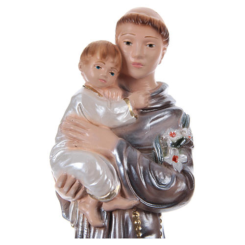 Saint Anthony of Padua with Child, 20 cm in plaster with mother of pearl 2