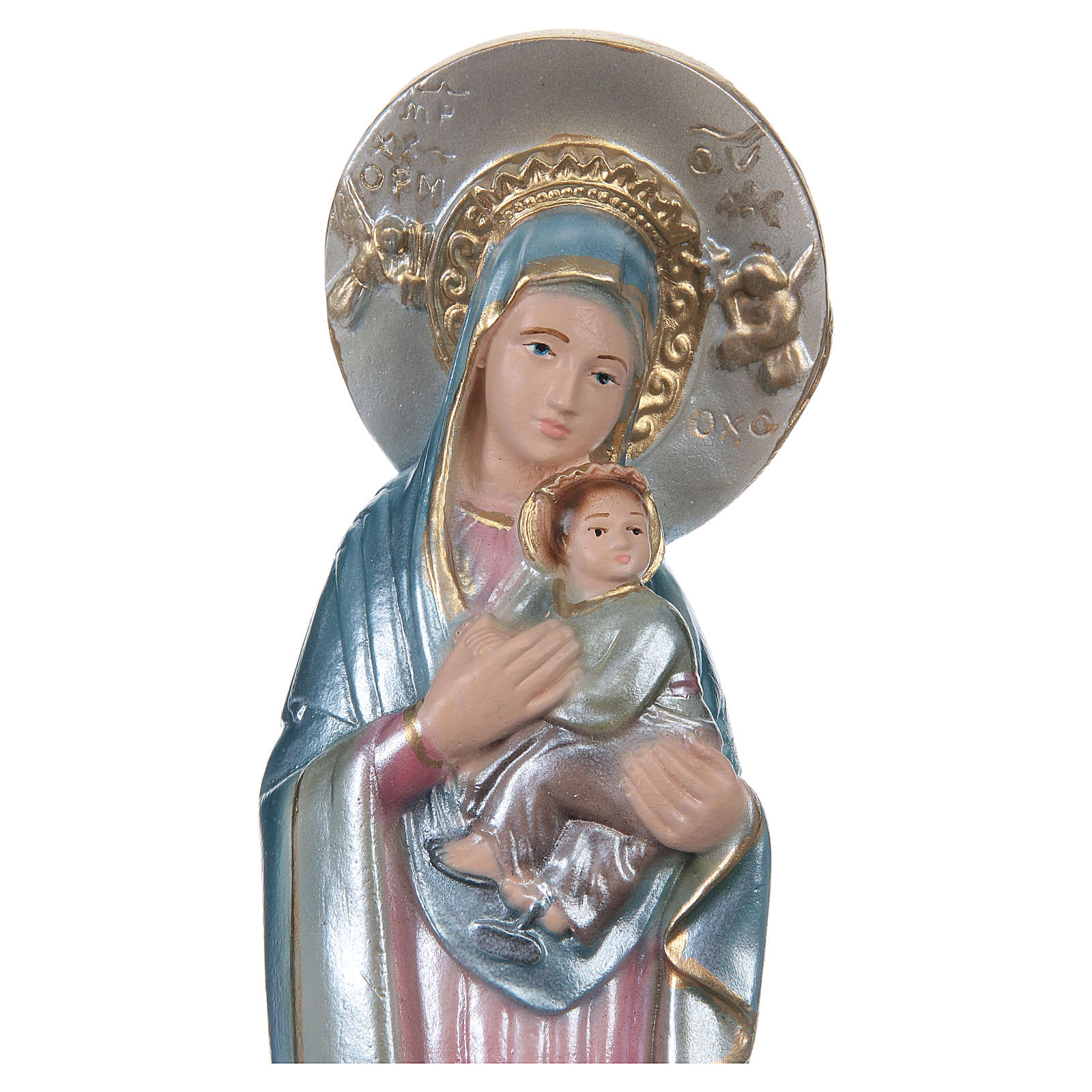 Mary of Perpetual Help Statue, 20 cm in plaster with mother of pearl 4