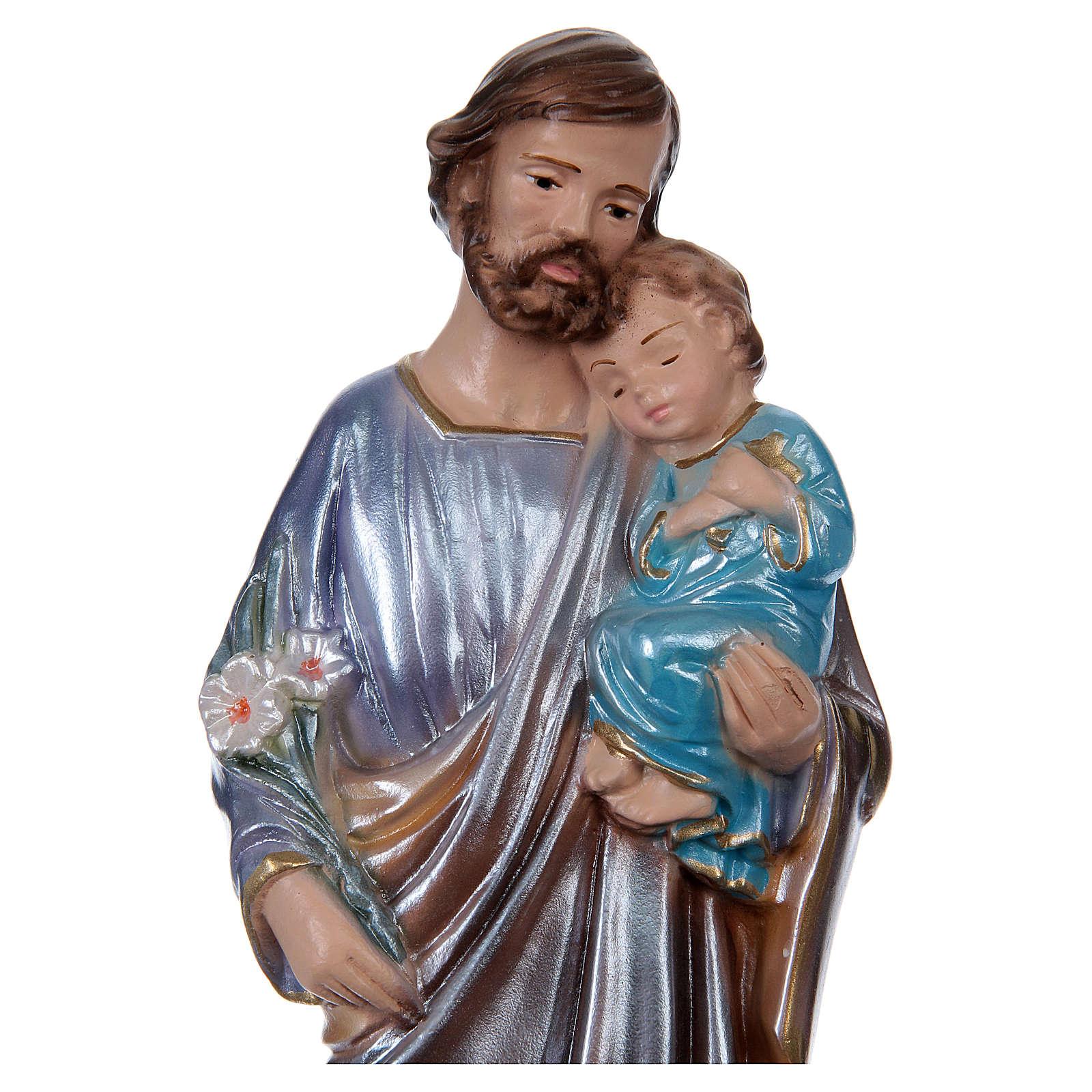 Heiliger Josef mit Christkind 20cm perlmuttartigen Gips 4