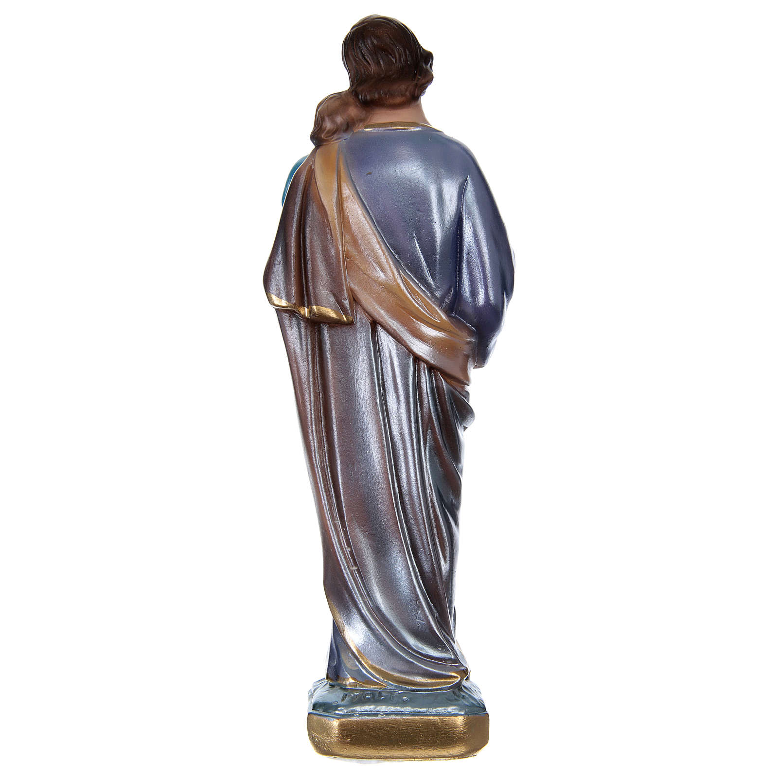 St. Joseph Holding Jesus 20 cm, in plaster with mother of pearl 4