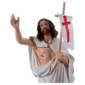 Estatua de yeso Jesús resucitado con bandera 40 cm s2