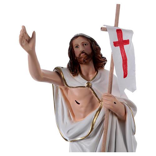 Estatua de yeso Jesús resucitado con bandera 40 cm 2
