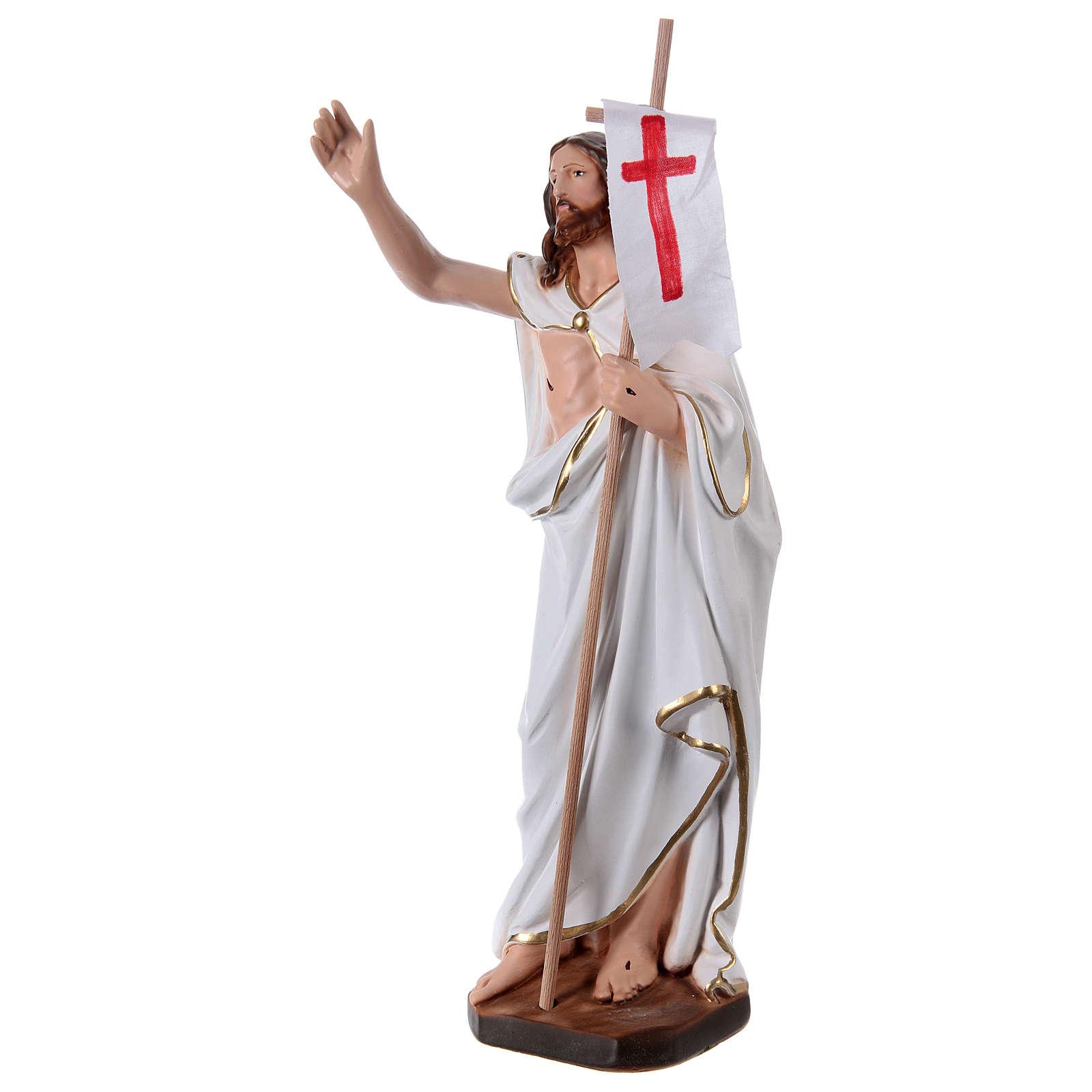 Statua in gesso Gesù risorto con bandiera 40 cm 4
