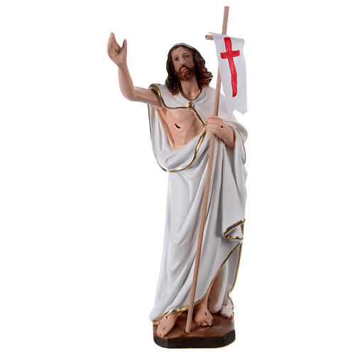 Imagem em gesso Cristo Ressuscitado com bandeira 40 cm 1