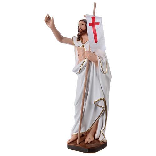 Imagem em gesso Cristo Ressuscitado com bandeira 40 cm 3