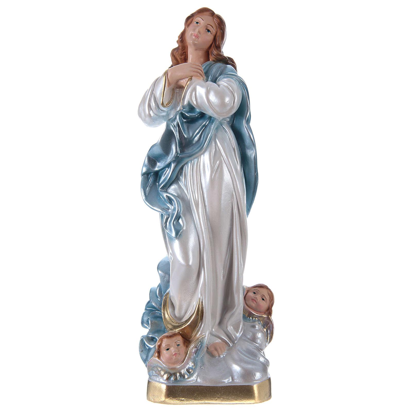 Statua Madonna del Murillo h 30 cm gesso madreperlato 4