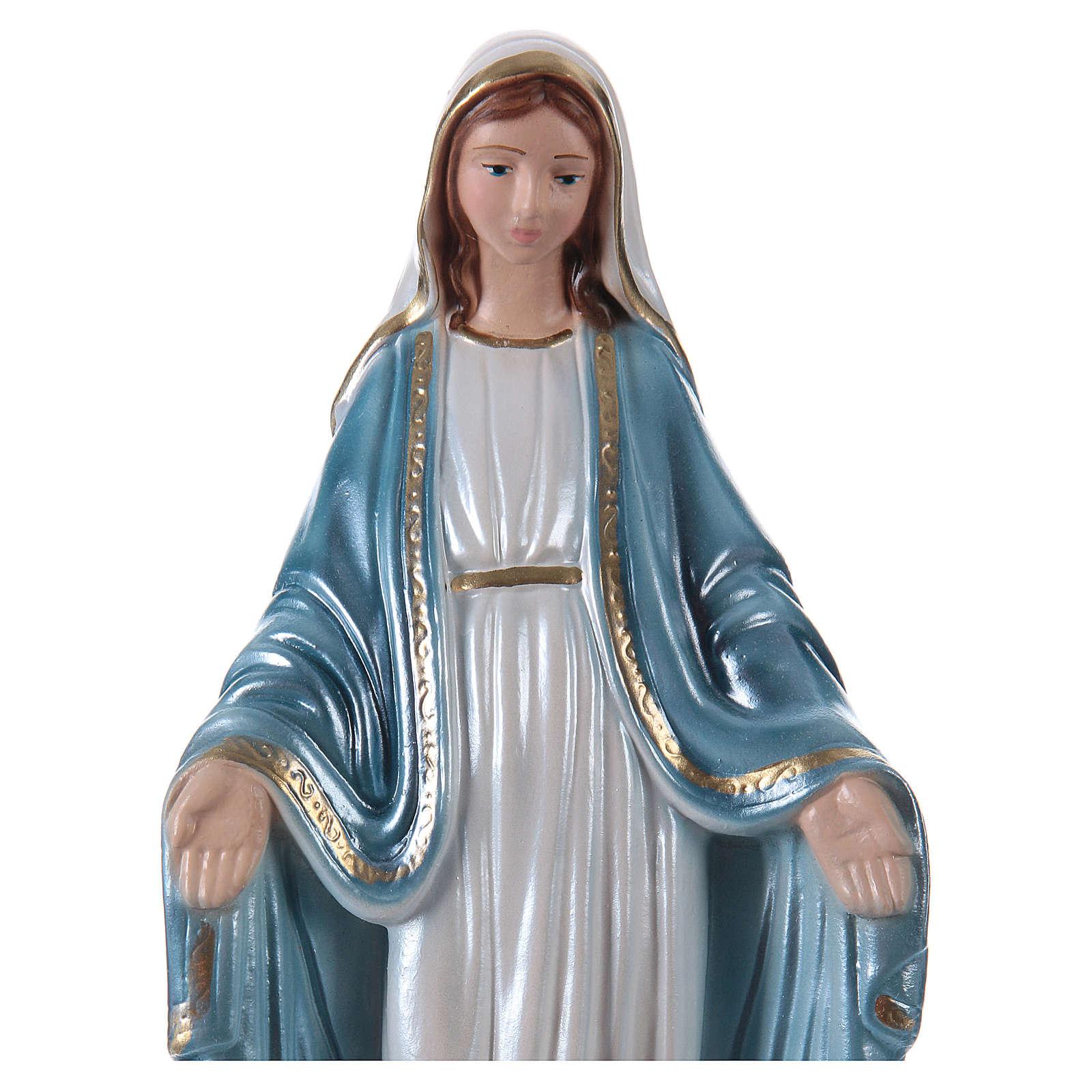 Estatua Virgen Milagrosa 20 cm de yeso nacarado 4