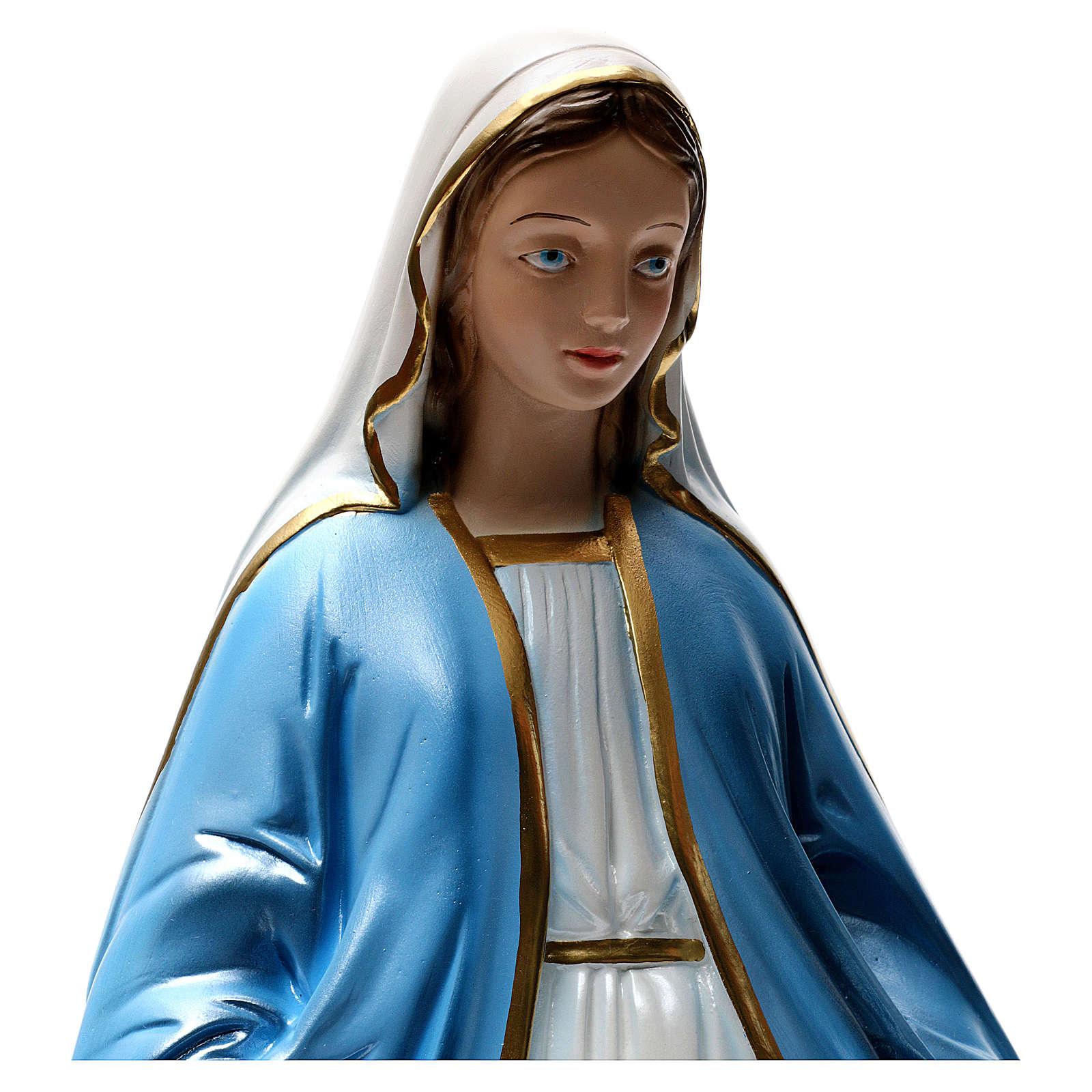 Statue Vierge Miraculeuse 50 cm en plâtre nacré 4