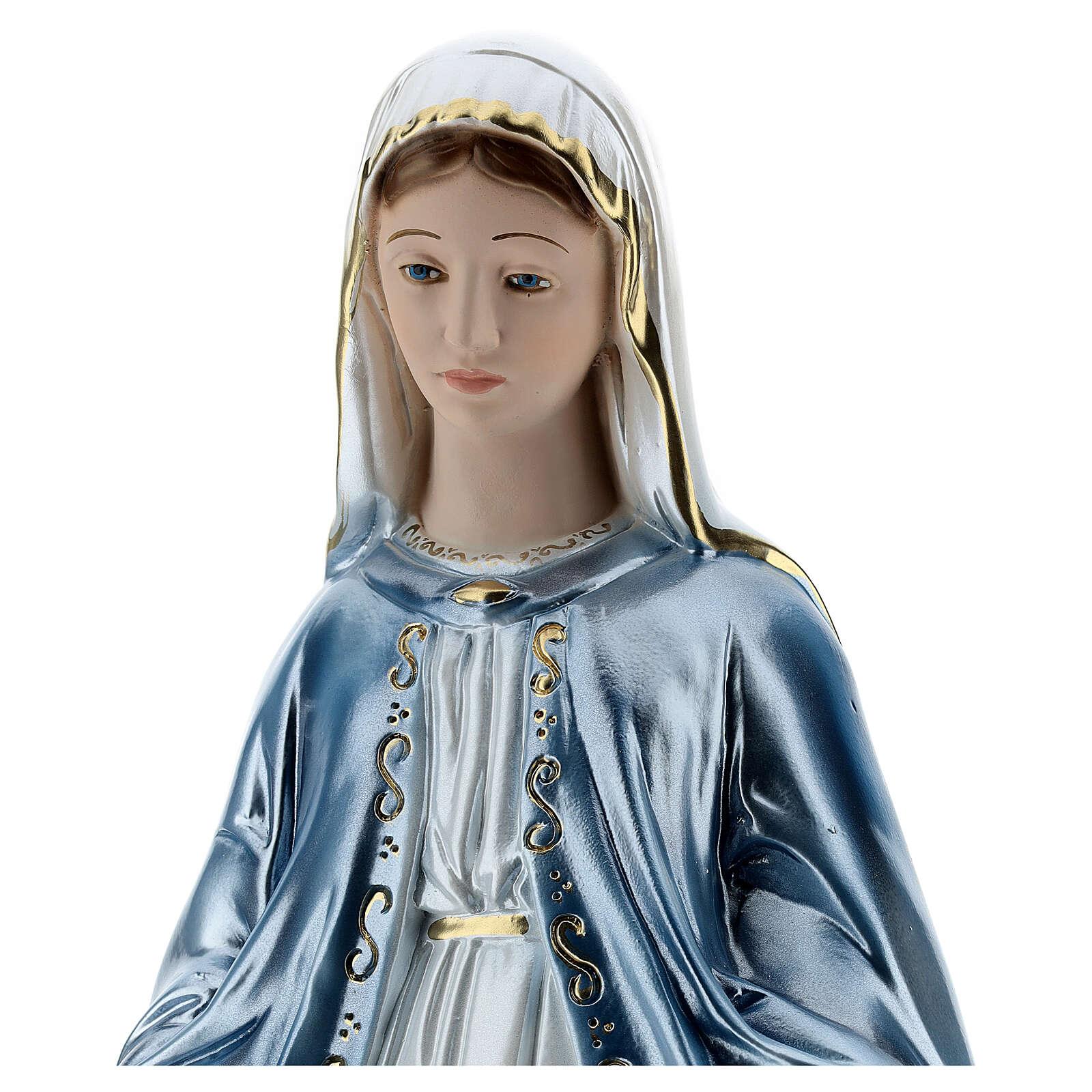 Statua Madonna Miracolosa 50 cm in gesso madreperlato 4
