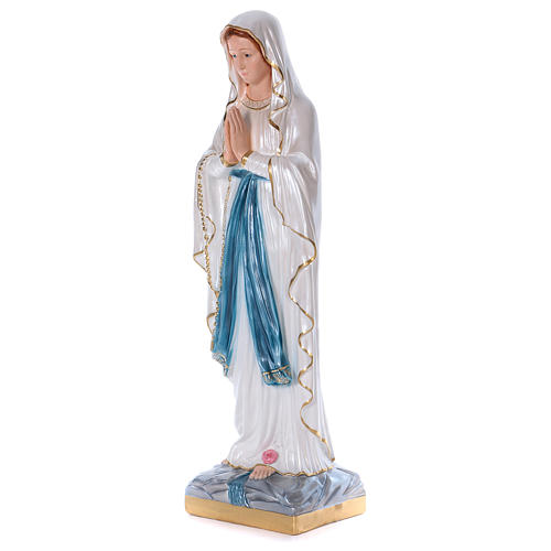 Our Lady of Lourdes statue in pearlized plaster 80 cm 3