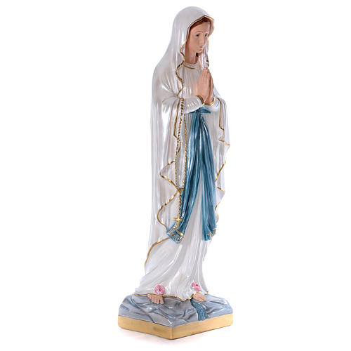 Our Lady of Lourdes statue in pearlized plaster 80 cm 4