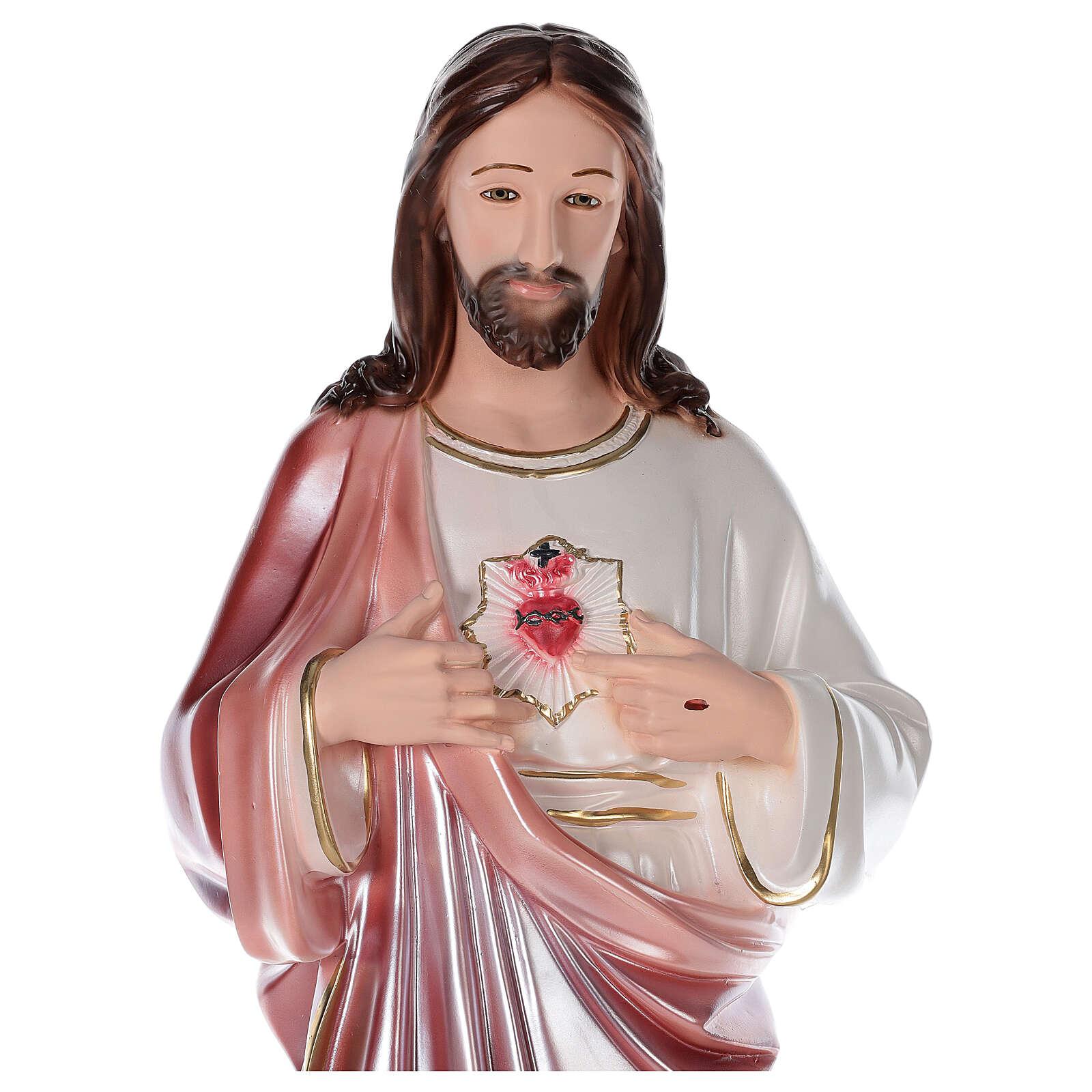 Sagrado Corazón de Jesús estatua 80 cm yeso nacarado 4