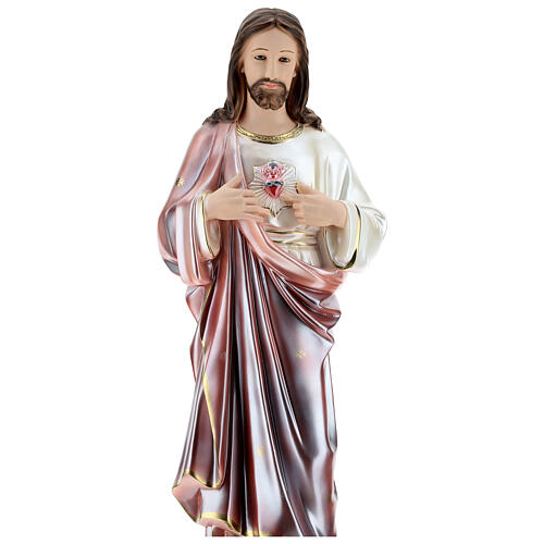 Sagrado Corazón de Jesús estatua 80 cm yeso nacarado 2