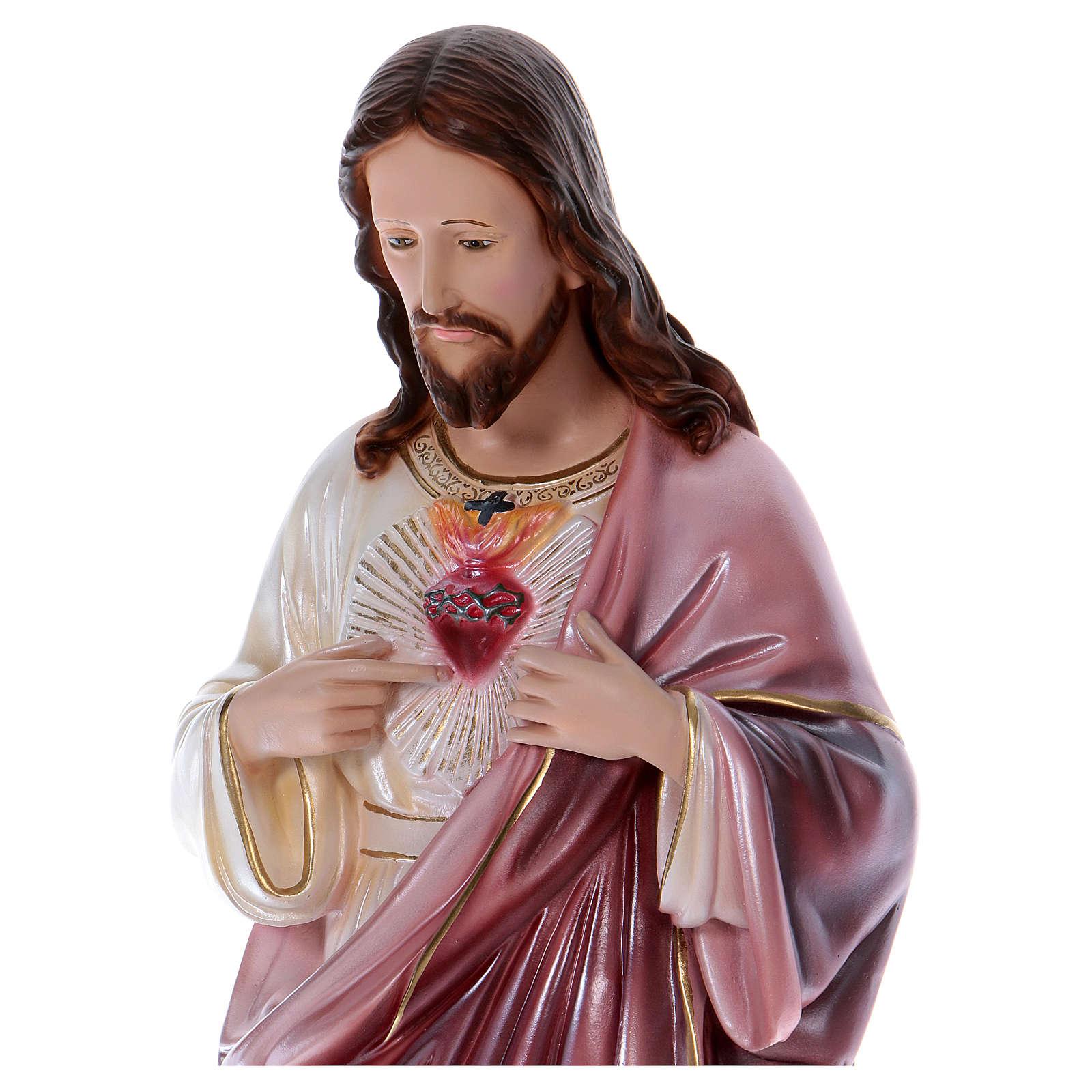 Sacré-Coeur de Jésus statue 80 cm plâtre nacré 4