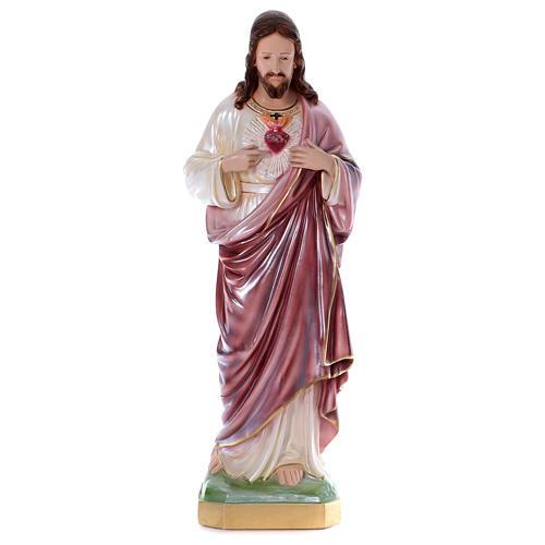 Sacré-Coeur de Jésus statue 80 cm plâtre nacré 1
