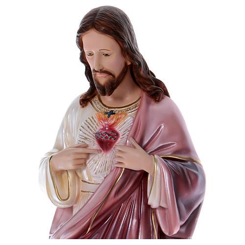 Sacré-Coeur de Jésus statue 80 cm plâtre nacré 2