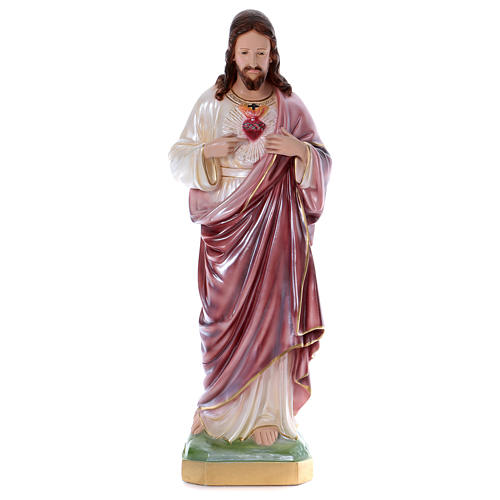 Sacred Heart of Jesus 80 cm Plaster Statue with mother of pearl 1