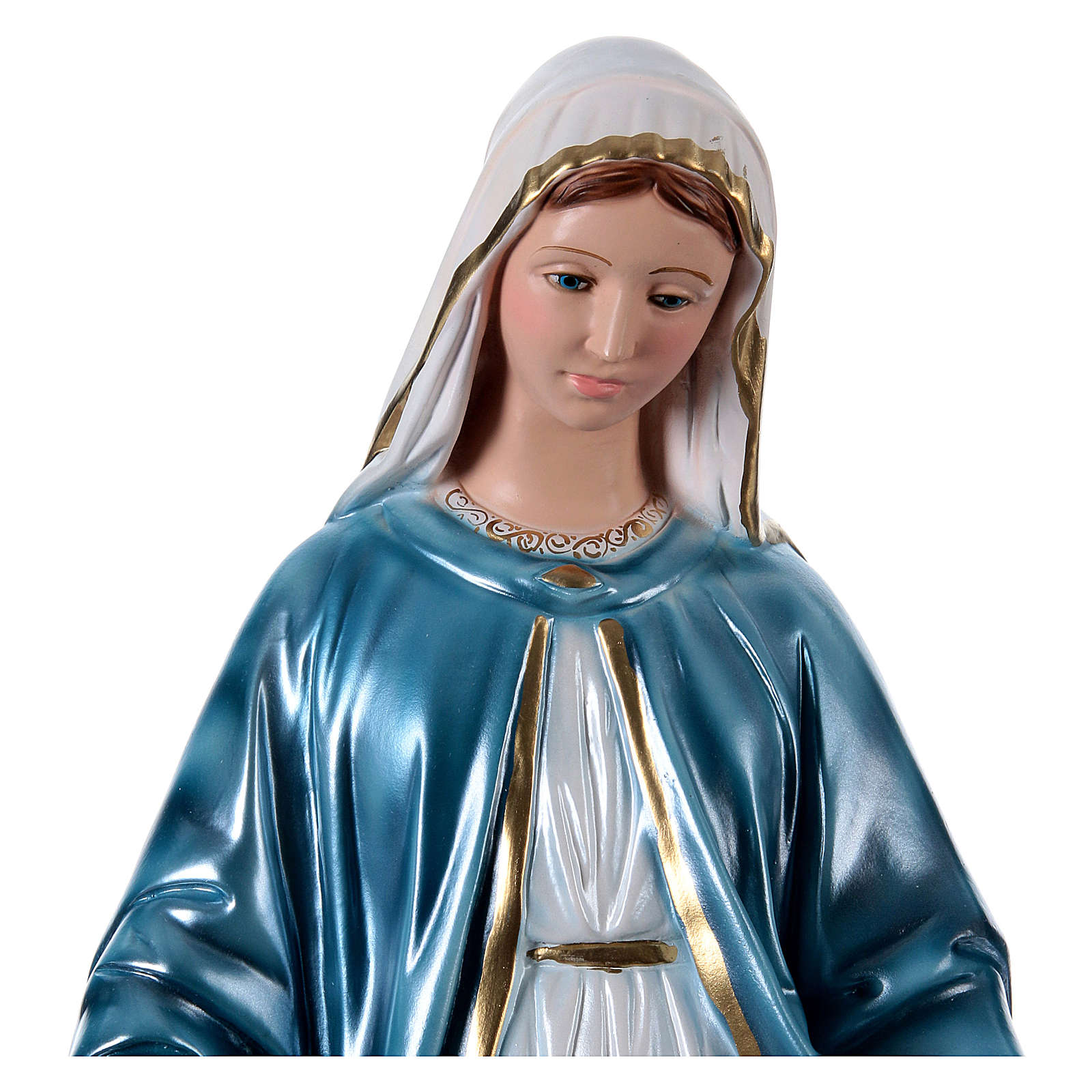 Our Lady of Miracles statue in pearlized plaster, 60 cm 4