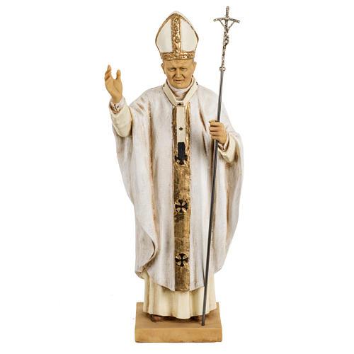 Jean Paul II veste blanche 50 cm résine Fontanini 1