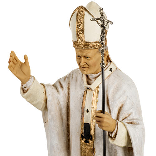 Giovanni Paolo II veste bianca 50 cm resina Fontanini 3