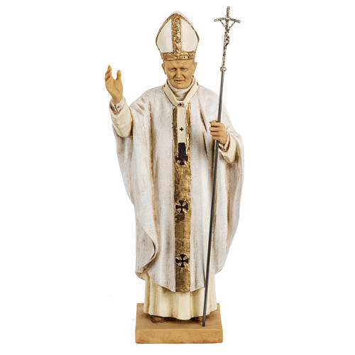 João Paulo II casula branca 50 cm resina Fontanini 1
