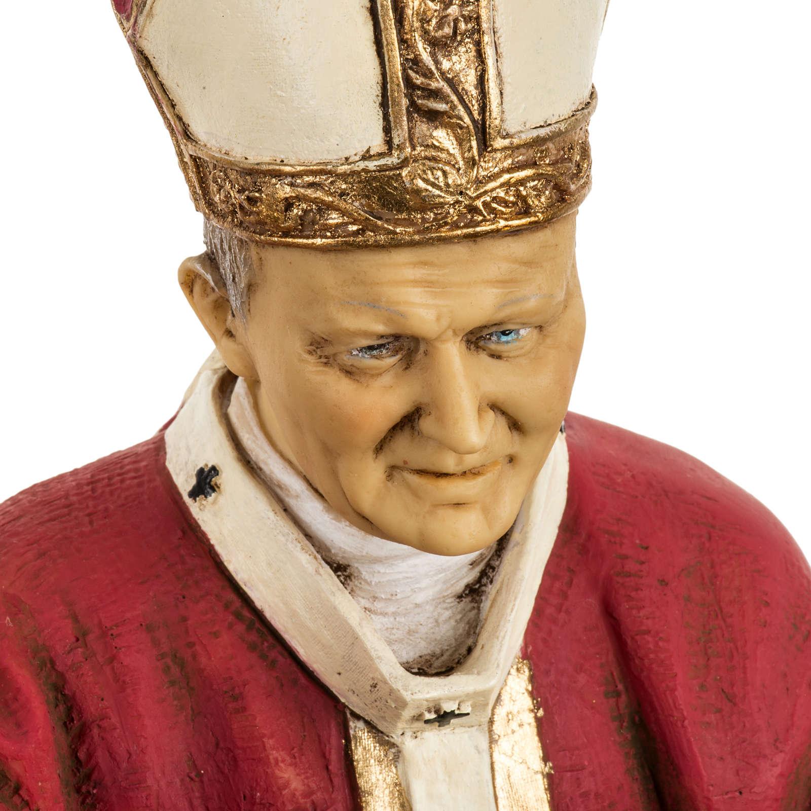 Jean Paul II veste rouge 50 cm résine Fontanini 4