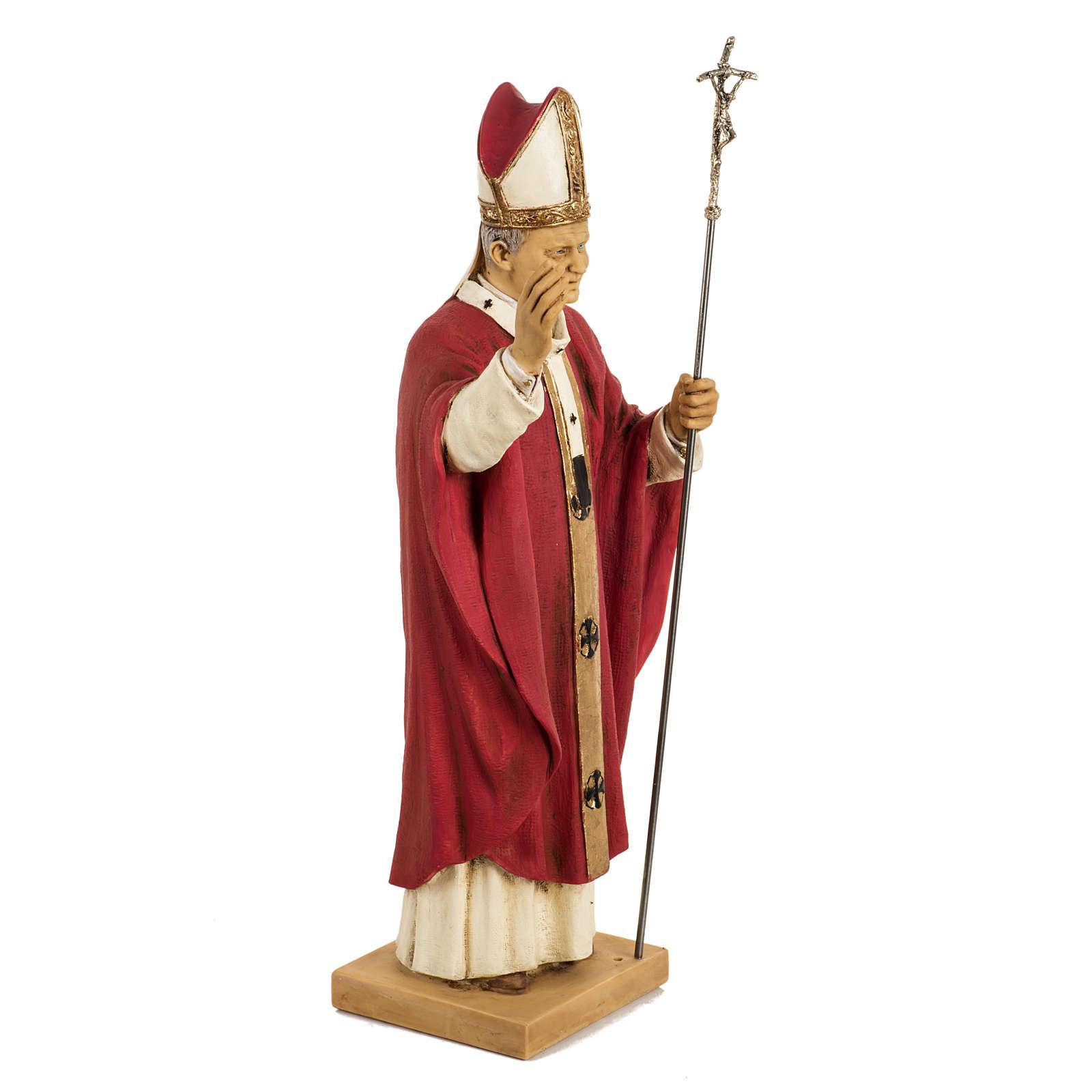 Giovanni Paolo II veste rossa 50 cm resina Fontanini 4