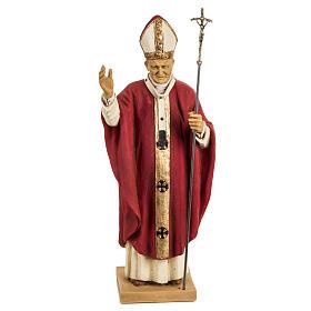 Giovanni Paolo II veste rossa 50 cm resina Fontanini s1