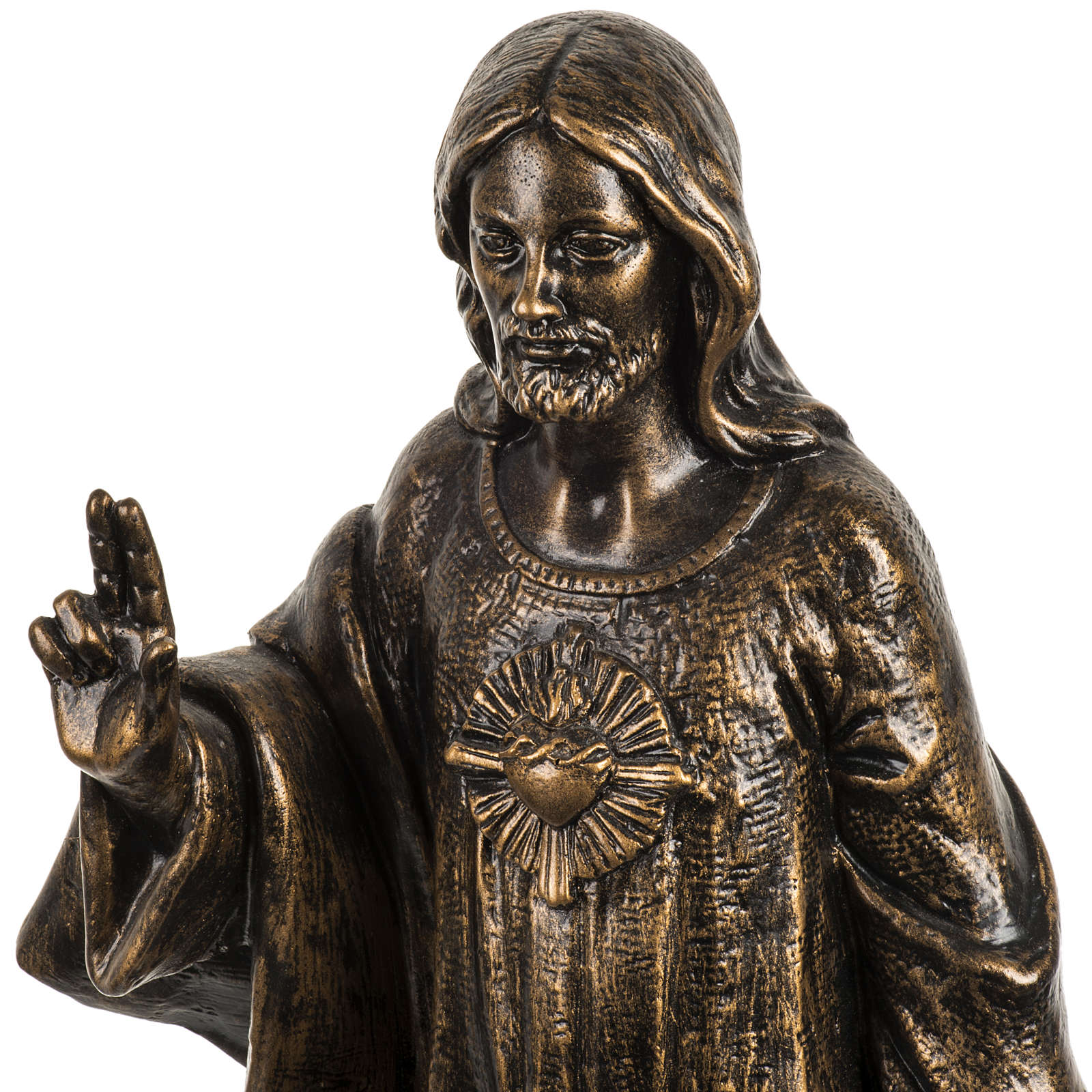 Sagrado Corazón de Jesús 50 cm. resina Fontanini bronceado 4