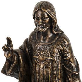 Sacro Cuore di Gesù 50 cm resina Fontanini finitura bronzo s2