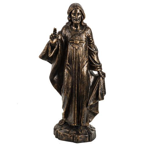 Sacro Cuore di Gesù 50 cm resina Fontanini finitura bronzo 1